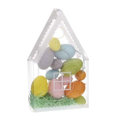 Speckled Faux Easter Eggs in Plastic House Box